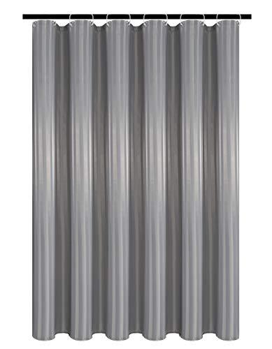 Biscaynebay Duschvorhang, Stoff, wasserabweisend, Damaststreifen, Silbergrau, 183 x 183 cm, mit 12 Haken