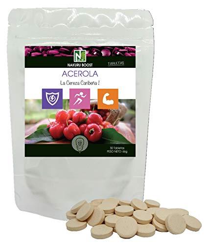 Acerola / 30 tabletas de 2,2 g/NAKURU Boost/Polvo orgánico seco y comprimido en frío/Analizado y envasado en Francia/La Cereza Caribeña!