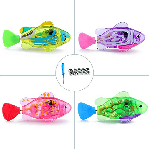 WoLover Interactive Swimming Robot Fish Toy for Cat and Dog with LED Light, Swimming Toy to Stimulate Your Pet's Hunter Instincts, Activated in Water Magical Electric Toy - 4 PCS