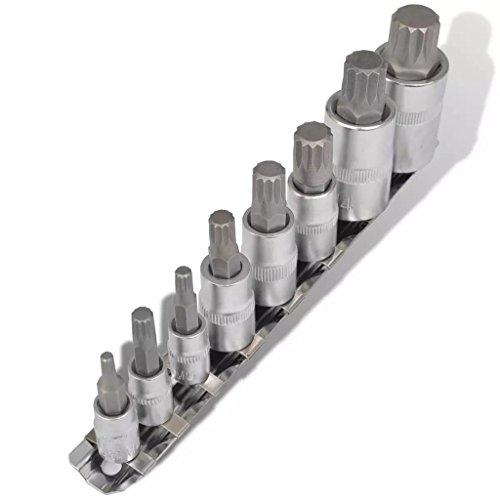 12-kant Bit-Satz Steckschlüsselsatz 8-tlg auf Streifenantrieb Sechskant-Steckschlüssel-Satz, silber