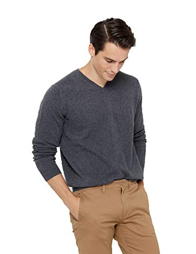 State Cashmere Men's Essential V-Neck Sweater 100% Pure Cashmere Classic Long Sleeve Pullover (Large, Charcoal)