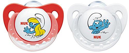 NUK Die Schlümpfe Trendline Silikon-Schnuller, kiefergerecht, BPA frei, 2 Stück, 0-6 Monate, rot