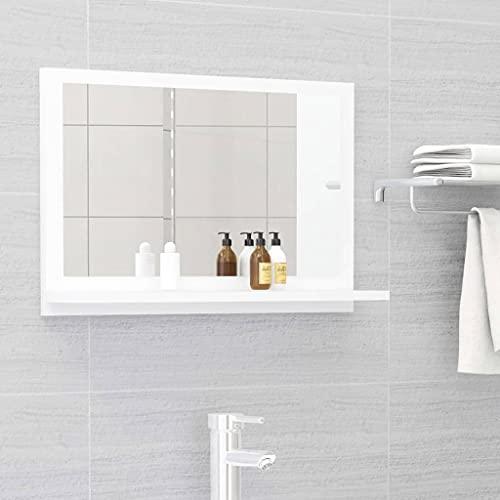 vidaXL Badspiegel mit Ablage Wandspiegel Badezimmerspiegel Bad Spiegel Hängespiegel Badezimmer Badmöbel Weiß 60x10,5x37cm Spanplatte