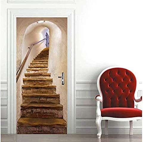 farsky Stair door stickers, DIY wall stickers can be used for bedroom, living room, door decoration, self-adhesive door stickers 77 * 200cm