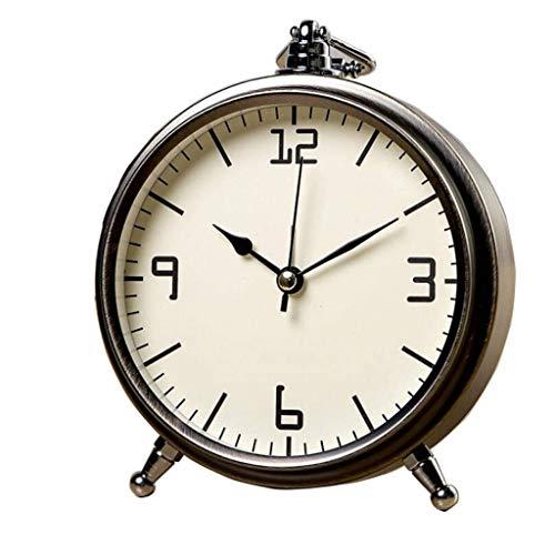 Riyyow Retro Creativo silencioso Despertador de Alarma Personajes Romanos números Dormitorio Noche de Noche Escritorio Reloj Simple pequeño Reloj de Escritorio Reloj (Color : E)