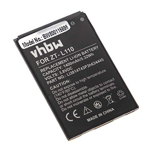 vhbw Li-Ion Akku 1400mAh (3.8V) passend für Handy Smartphone Telefon ZTE Blade L110, L110 Dual SIM