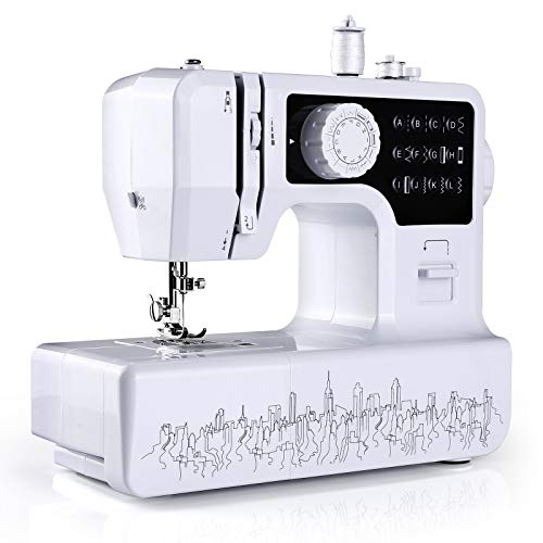 WilBee Sewing Machine with 12 Built-in Stitches Mini Sewing Machine for Beginners with 2 Speed Mode, Reverse Sewing, Portable Sewing Machine with Replaceable Feet and Foot Pedal