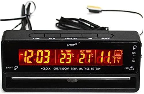 Reloj Despertador con termómetro de Temperatura de Entrada de Coche automático LCD Digital TS-7010V