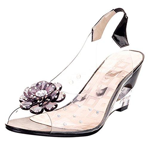 VulusValas Femmes Transparent Compensées Peep Toe Sandales Fleur Open Back Black Size 43 Asiatique
