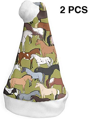 YudoHong Horse (2 Pack) Weihnachtsmütze Christmas Santa Hats S