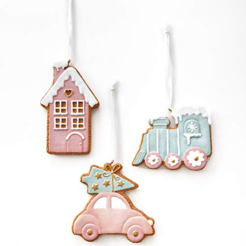 The Lakeside Collection Holiday Gingerbread Tree Ornaments - Locomotive, House, Car - Set of 3