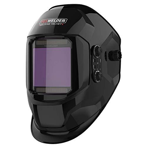 YESWELDER Large Viewing Screen True Color Solar Power Auto Darkening Welding Helmet, 4 Arc Sensor, for TIG MIG Arc Weld Grinding Welder Mask LYG-17800F