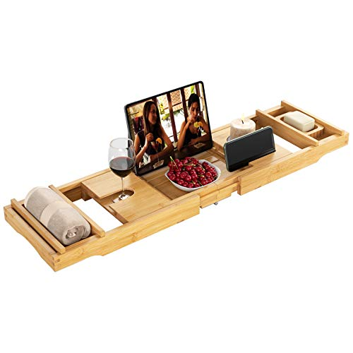 HOMECHO Bandeja de Bañera Extensible Bandeja Bañera de Bambú para Relajarse Soporte para Toallas Jabón Libros Bebidas Teléfono iPad 73.3-105x23x4.5 cm