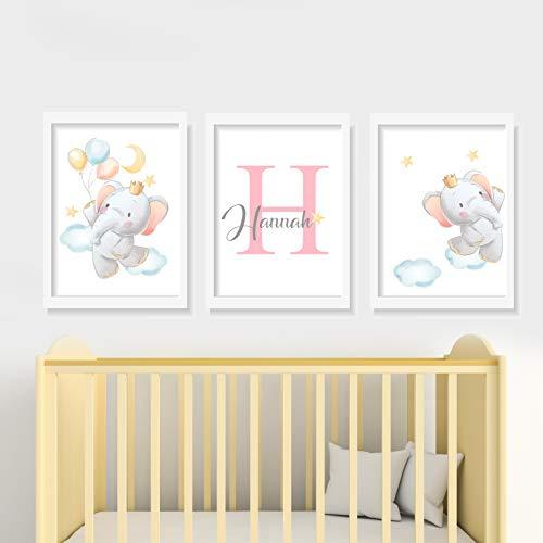 Set de 3 Posters Infantiles Personalizados para Enmarcar A4/21x29.7, Decoración de Elefantes dormitorio infantil.