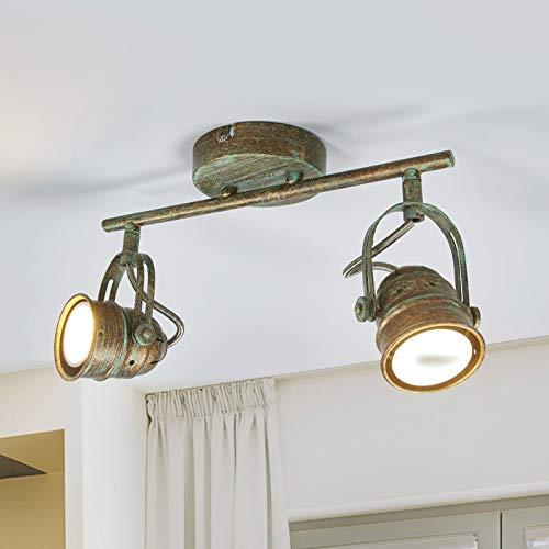 Lindby LED Deckenleuchte 'Leonor' (Retro, Vintage, Antik) in Bronze aus Metall u.a. für Wohnzimmer & Esszimmer (2 flammig, GU10, A+, inkl. Leuchtmittel) - Lampe, LED-Deckenlampe, Deckenlampe