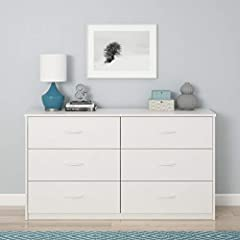 Give your bedroom or guest room additional storage with the Mainstays Emery 6 Drawer Dresser Made from laminated particleboard, the white finish gives the Dresser a classic look that fits with your existing décor Keep your folded t-shirts, pants, and...
