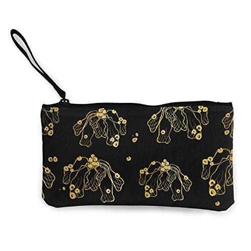 Moneda de lona, papel de aluminio dorado, bolsa de cosméticos con cremallera, bolsa de maquillaje multifunción para teléfono móvil, bolsa de lápices con asa