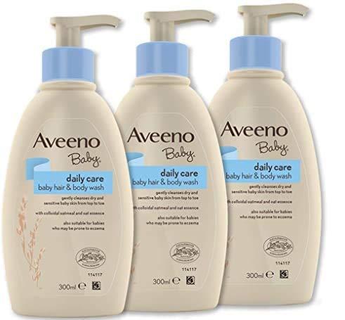 Aveeno Baby Daily Care Hair & Body Wash - Bagnoschiuma shampoo per bambini, 3 x 300 ml