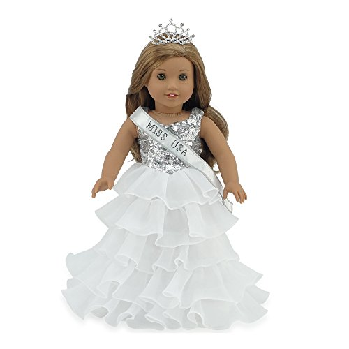 Emily Rose 18 Inch Doll Clothes for American Girl Doll | Ball Gown Pageant Doll Dress with Miss USA-Inspired Sash and Sparkling Crown! | Fits 18' American Girl Dolls