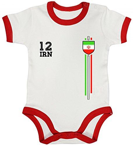 ShirtStreet Soccer World Cup Fussball WM Fanfest Gruppen Ringer Strampler Baumwoll Baby Body kurzarm Jungen Mädchen Streifen Trikot Iran, Größe: 6-12 Monate,White/Red