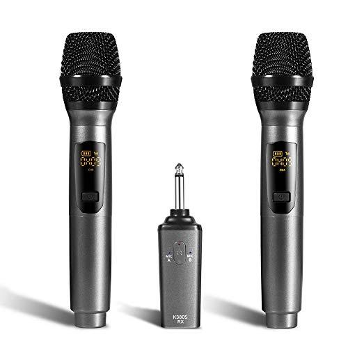 Rubyu K380S draadloze microfoon draagbare draagbare USB-handmicrofoon met accu voor feestjes, kerken, bruiloften, vergaderingen en onderwijs.