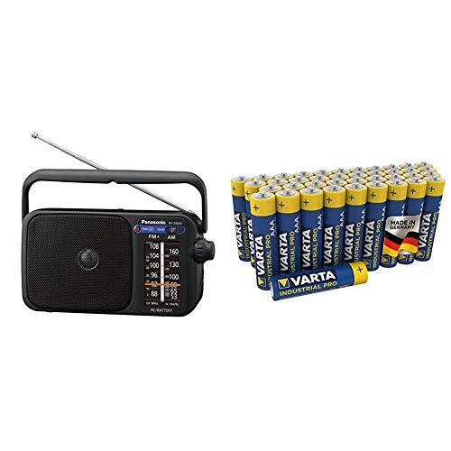 Panasonic RF-2400DEG-K Tragbares Radio mit Griff, Netz- oder Batteriebetrieb schwarz & VARTA Industrial Batterie AAA Micro Alkaline Batterien LR03-40er Pack, umweltschonende Verpackung