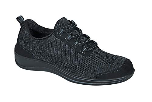 Orthofeet Proven Plantar Fasciitis, Foot and Heel Pain Relief. Extended Widths. Orthopedic Walking Shoes Diabetic Bunions Women's Sneakers, Palma Black