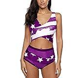Set Bikini Donna Push Up Incrociato Regolabile A Vita Alta Slip Bikini Avvolgente Top Bikini Costume da Bagno in Due Pezzi Stampato Sportivi Scollo A V Costumi da Bagno Sexy Swimsuit Beachwear S