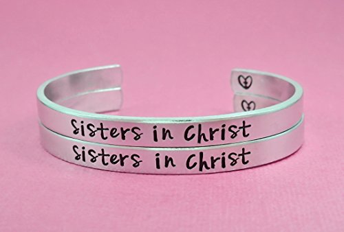 The Church Sisters Rings Sisters In Christ Hand Stamped Aluminum Spiral Ring Set Cross Rings Religious Jewelry
