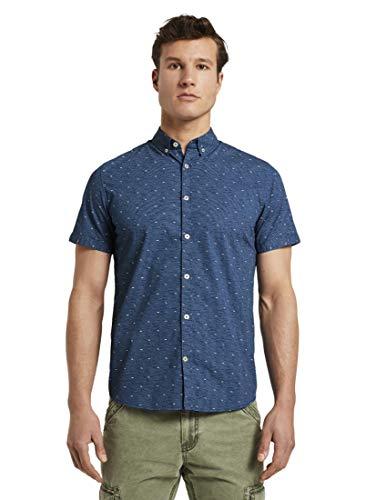 TOM TAILOR Herren Blusen, Shirts & Hemden Gemustertes Kurzarm-Hemd Navy Blue White Grid Design,XXL