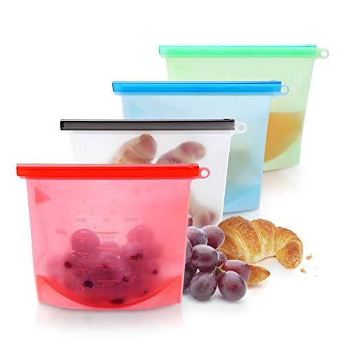 Hivexagon Lebensmittel Beutel Koch Beutel Küche Beutel Wiederverwendbare aus Silikon für Obst Gemüse Milch Snacks Fleisch (4 Packungen)