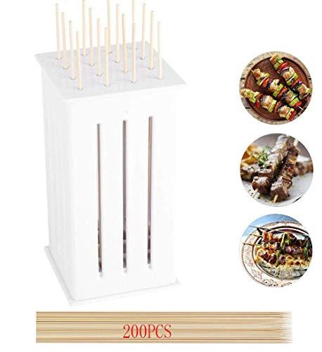 Qinf Attrezzo da Cucina per Kebab a 16 Fori, Semplice Barbecue Multifunzione Spiedino per Barbecue Attrezzi per Carne per la casa Accessori veloci con 200 spiedini di bambù