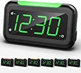 """Housbay Digital Alarm Clock for Bedrooms - 5"""" Large LED Screen with 0-100% Dimmer, 7 Color Night Light, Easy to Set, USB Charger, Battery Backup, Plug-in Clock for Kids, Teens, Boys, Girls"""