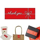 Paquete de 300 etiquetas adhesivas rectangulares de color rojo con texto en inglés 'Thank You' para regalos, etiquetas festivo con de para boda , fiesta, regalo, decoración, calcomanía táctil personal