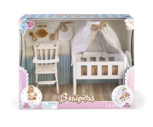Barriguitas 700015557 Kinderbett-Set mit Hochstuhl und Zubehör