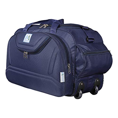 M MEDLER Epoch Nylon 55 litres Waterproof Strolley Duffle Bag- 2 Wheels - Luggage Bag - (Navy Blue)