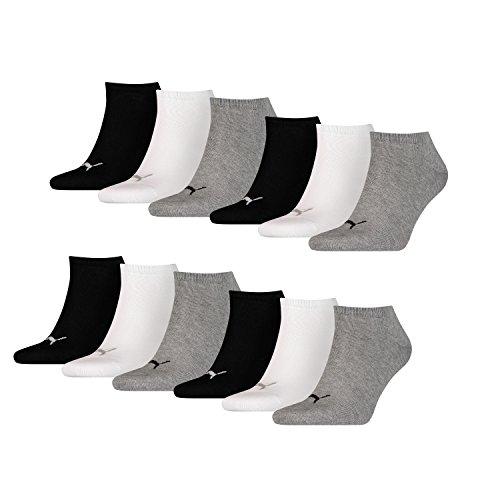 PUMA Unisex Sneakers Socken Sportsocken 12er Pack, mt (35/38, grey / white / black)