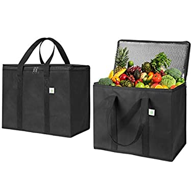 2 Pack Insulated Reusable Grocery Bag by VENO, Durable, Heavy Duty, Large Size, Stands Upright, Collapsible, Sturdy Zipper, Made by Recycled Material, Eco-Friendly (BLACK, 2)