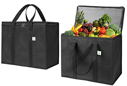 2 Pack Insulated Reusable Grocery Bag by VENO Durable Heavy Duty Large Size Stands Upright Collapsible Sturdy Zipper Made by Recycled Material EcoFriendly BLACK 2