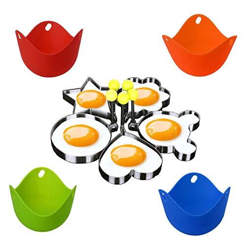 WENTS 4 Stück Silikon-Ei-Wilderer Spiegeleier und 4 Stück Edelstahl Bratring Antihaft-Ei Ringe für die Herstellung von Kuchen, Pfannkuchen, Hackbraten, Keksen, Spiegelei