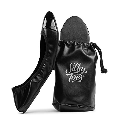 Silky Toes Foldable Travel Portable Flat Comfort Shoes with Pouch (X-Large 10, Black - Patent Tip)