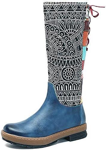 Ruanyi Stiefel de la Rodilla, Stiefel Calientes del Cuero del Estilo del Bohemia Hecho a Mano señoras (Farbe   Blau, Größe   36EU)