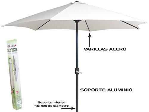 Gerimport Sombrilla Blanca 3m Tubo Aluminio 48mm