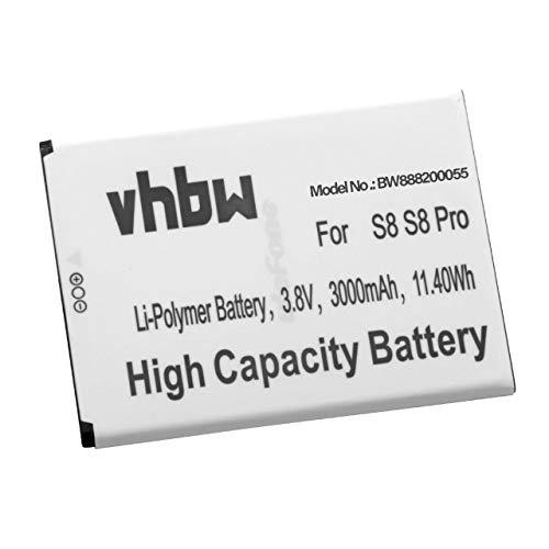 vhbw Li-Polymère Batterie 3000mAh (3.8V) pour téléphone Portable Mobil Smartphone Ulefone S8, S8 Pro