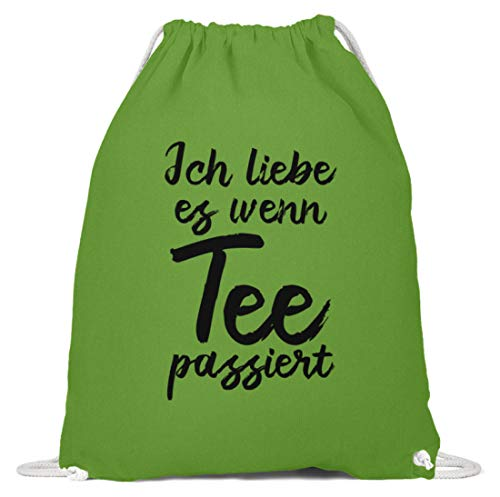 shirt-o-magic Lustiger Büro-Spruch: Ich liebe es, wenn Tee passiert - Baumwoll Gymsac -37cm-46cm-LimettenGrün