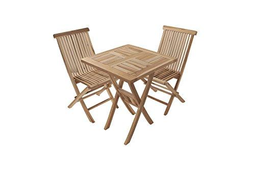 SAM Möbel Outlet Balkongruppe Gartengruppe Holz Teak 3tlg Square Tisch 60 x 60 cm Zwei Klappstühle ohne Armlehne