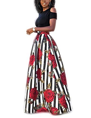 carinacoco Donna Vestiti Lunghi Due Pezzi Senza Spalline Manica Corta Camicetta + Rosa Stampa Gonne Lungo Elegante…