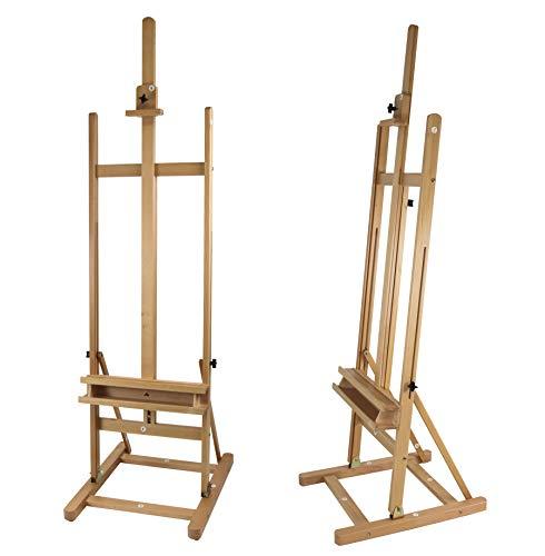 Meister Staffelei Arta - stabile Atelier-Staffelei mit H-Fuss aus Buchenholz, für Keilrahmen bis 120cm, Aufbau-Video verfügbar