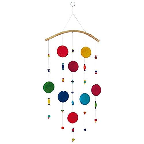 laroom 14018 – carrillón Vent Disque en Bois Arc en Ciel 60 cm, Couleur Multicolore