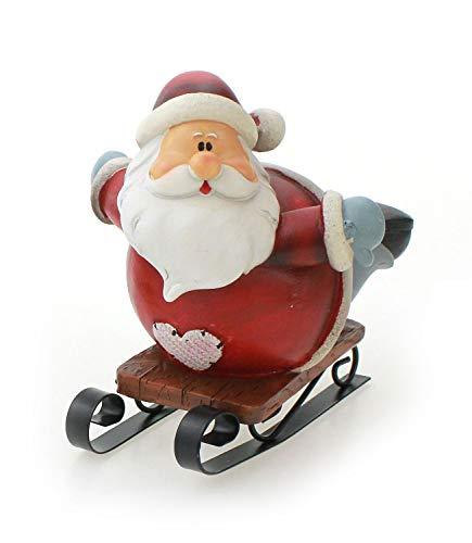 Deko Figur Weihnachtsmann auf Schlitten liegend 8x10 cm, Polystein rot grau Metall, Dekofigur Nikolaus Winter Weihnachten Weihnachtsdeko